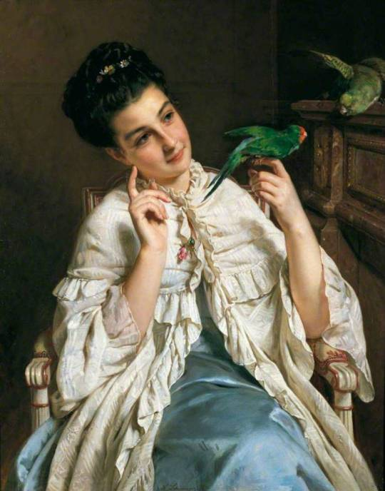 Henri-Guillaume Schlesinger - Girl with Lovebirds