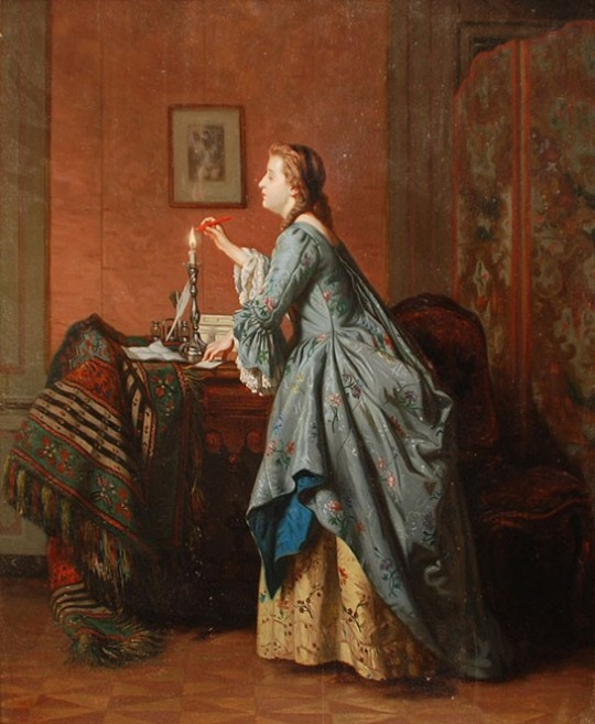 Jean Carolus (1814-1897) - Sealing a love letter