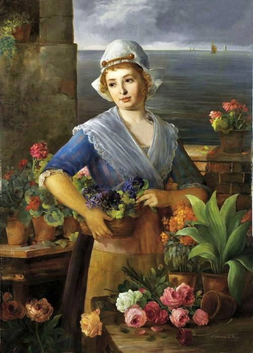 Jean von de Brug (19th-Century Dutch artist) Flower Seller