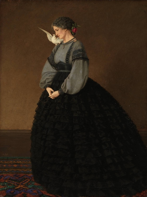 Lady with a Dove: Madame Loeser 1864 by John Brett 1831-1902