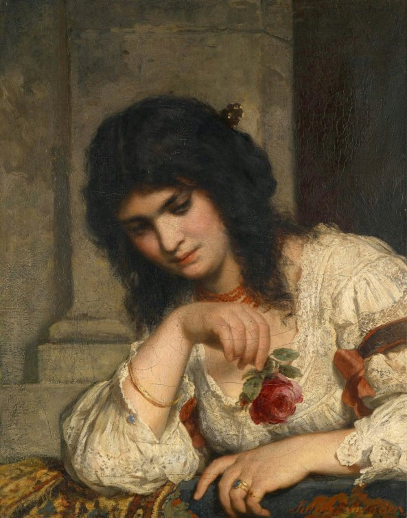 Julius Schrader (1815-1900) Lady on a Balustrade with Rose