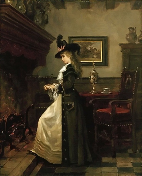 lajos-ludwig-bruck-an-elegant-lady-warming-herself-by-the-fireside-in-an-interior