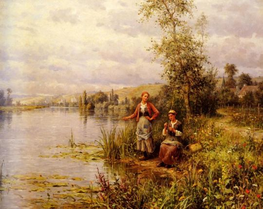 Louis Aston Knight - Country Women Fishing on a Summer Afternoon
