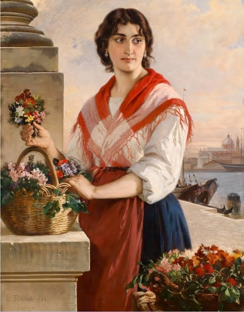 Ludwig Thiersch (German painter, 1825 –1909) Venetian Flower Seller