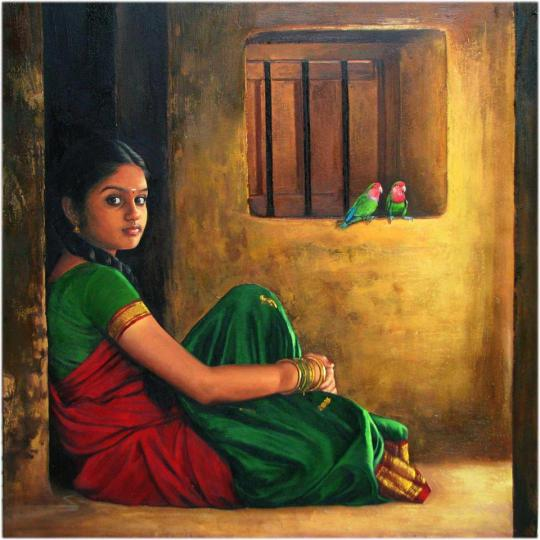 Oil-Painting-Of-Village-Woman-4