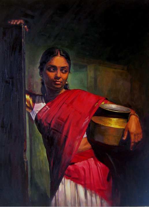 Paintings of rural indian women - Oil painting (11)