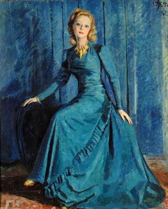 Paolo Ghiglia - Signora in blu, 1942