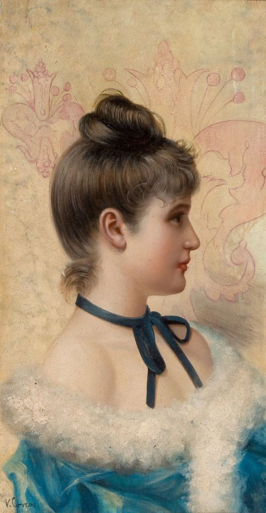VITTORIO MATTEO CORCOS (1859-1933) Profile Portrait of a Young Beauty
