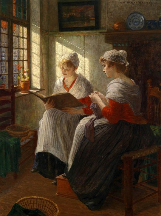 Walther Firle (1859-1929) Two Girls by the Window