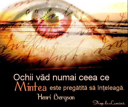 Ochii vad numai ceea ce mintea este pregatita sa inteleaga